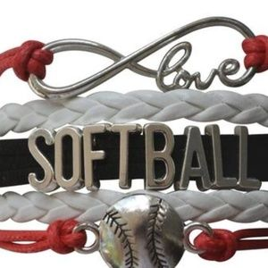 Girls Softball Bracelet - Red, White & Black